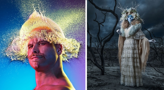 Tim Tadder, Water Wigs (left), Dia De Los Muertos (right)